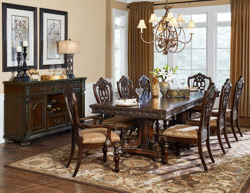 Homelegance 1824-112 7 pc Catalonia cherry finish wood double pedestal dining table set