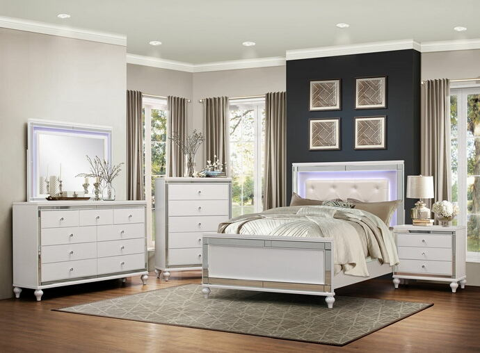 5 pc alonza ii collection brilliant white embossed alligator finish wood bedroom set with led trim