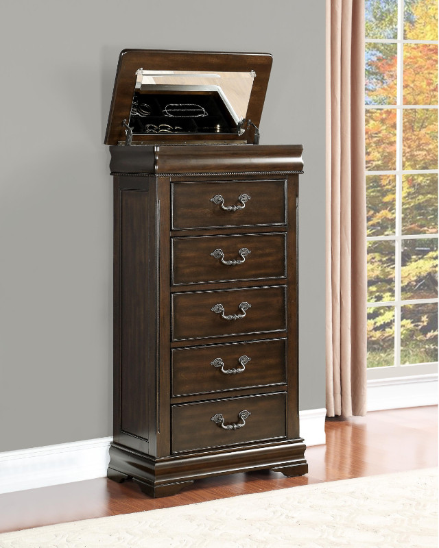 Homelegance 1869-12 Mont Belvieu dark cherry finish wood 5 drawer lingerie chest