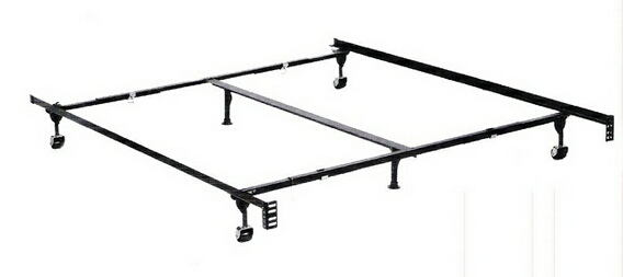 Queen / cal king / eastern king size classic clamp style bed frame with rug rollers/ and glides with headboard attachment