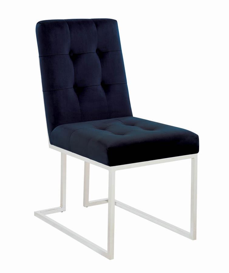 192494 Set of 2 Mischa chrome metal base dining chair blue velvet seats