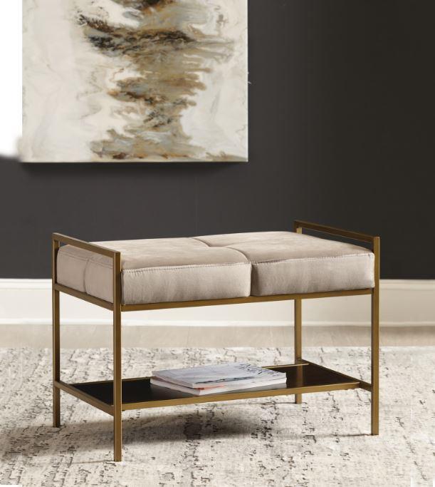 223116 Mercer 41 tocoloma warm grey velvet brass frame mid century modern bedroom entry bench