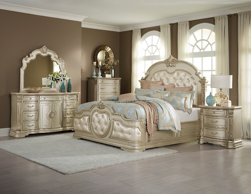 Home Elegance 1919NC-5PC 5 pc antoinetta champagne finish wood padded headboard bedroom set