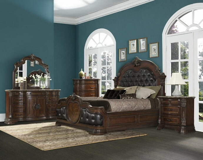 5 pc antoinetta collection warm cherry finish wood and dark brown padded headboard bedroom set