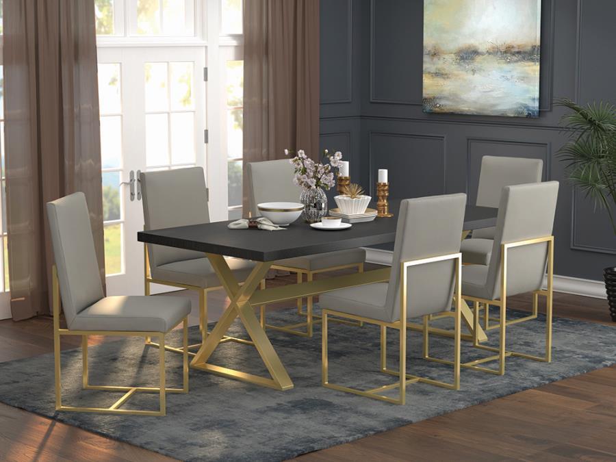 191991-92 7 pc Mercer 41 ackerson aged gold metal basedark walnut top dining table set