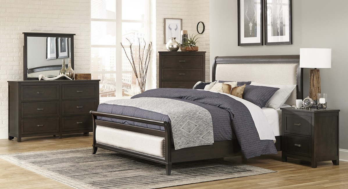 Homelegance 1923NB-4PC 4 pc Darby home co Hebron dark cherry finish wood padded headboard and footboard bedroom set