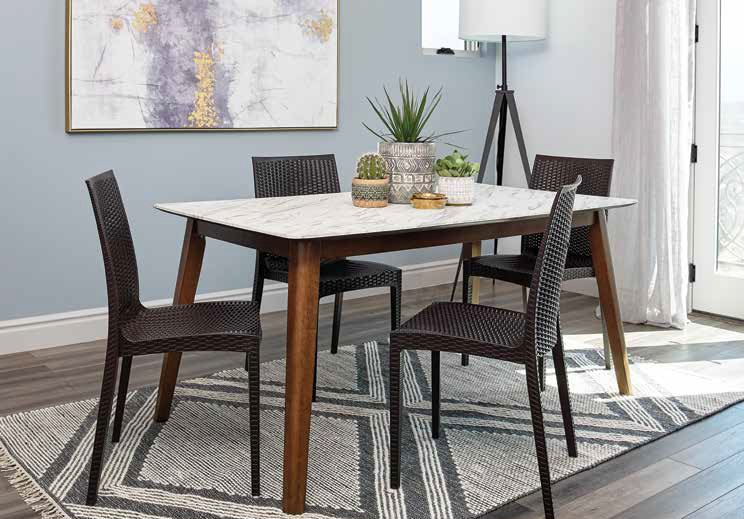 192761A 5 pc Charlton home millwood everett natural walnut finish wood faux marble top dining table set
