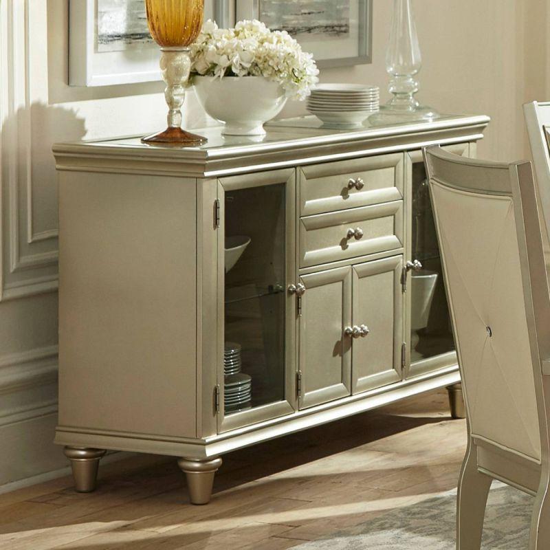 Homelegance HE-1928-40 Celandine antique silver finish wood dining buffet server sideboard