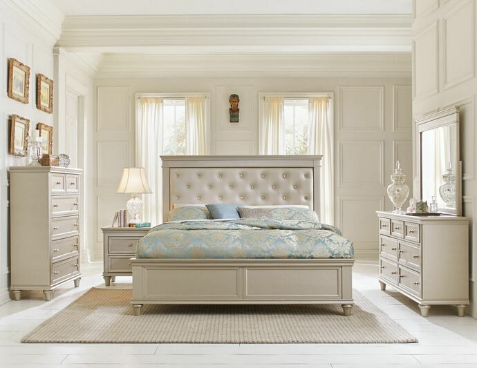 5 pc celandine collection silver finish wood and pearlized vinyl tufted headboard bedroom set