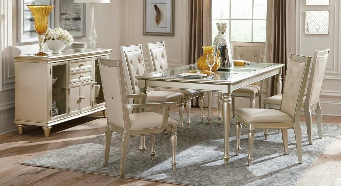 Homelegance 1928-78NG 7 pc Waldorf park Celandine antique silver finish wood dining table set