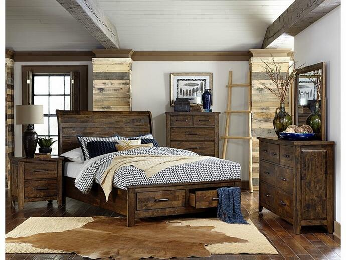 Homelegance 1957-5PC 5 pc Jerrick burnished natural finish wood paneled headboard bedroom set