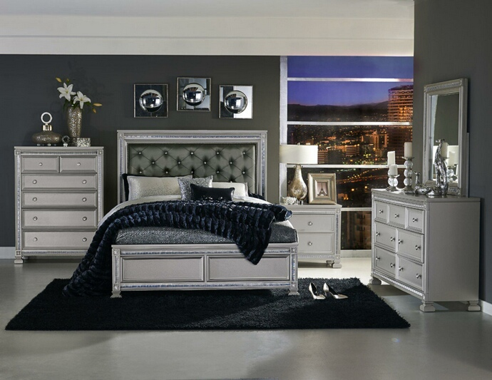 5 pc Bevelle collection silver finish wood tufted headboard queen bedroom set