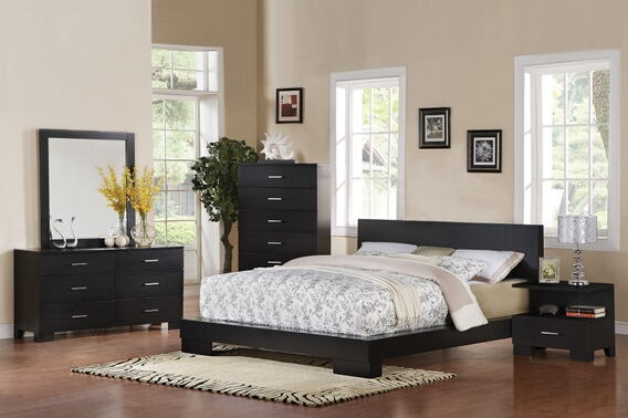 5 pc london collection black finish wood queen platform bed set with panel headboard and block legs