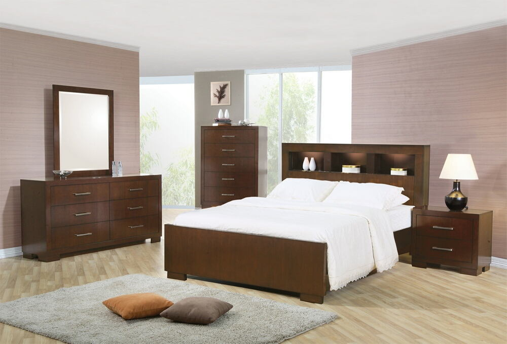 5 pc jessica queen contemporary bed with storage headboard and built in lighting bedroom set