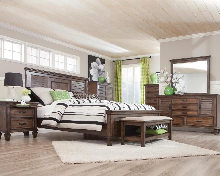 200971Q 5 pc Francis II burnished oak finish wood queen bed set with louvered look