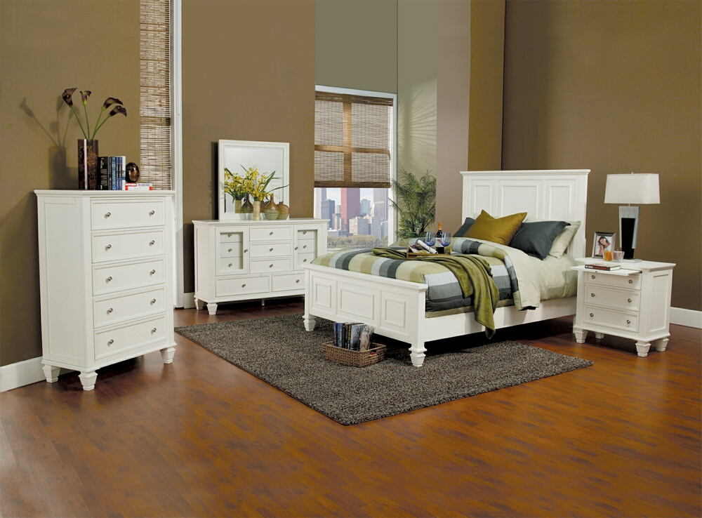 201301Q 5 pc sandy beach classic white wood finish  queen high headboard bedroom set