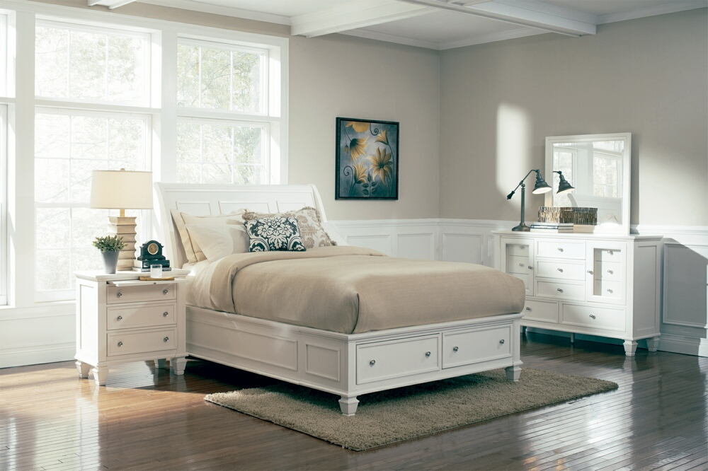 5 pc sandy beach white wood finish queen sleigh bed with footboard storage