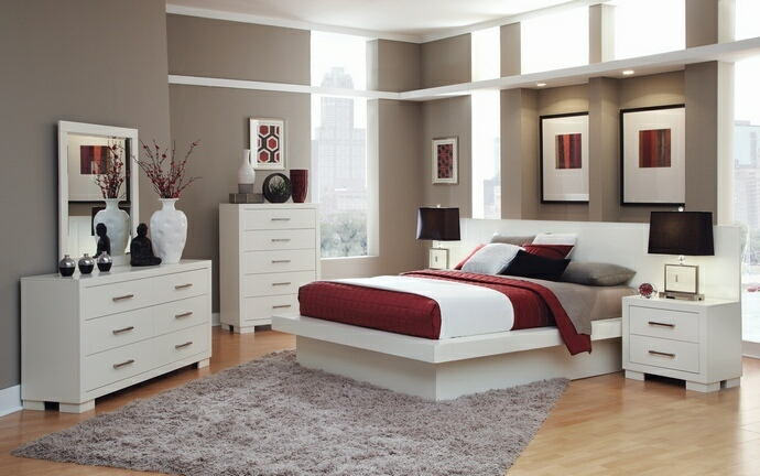 202990Q 5 pc jessica ii contemporary style white finish wood queen bedroom  set with paneled headboard