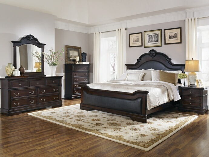203191Q 5 pc cambridge traditional style espresso finish wood queen bedroom set with faux leather padded headboard