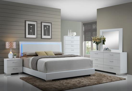 203500Q 5 pc felicity iii contemporary style glossy white and chrome finish wood queen bedroom set with led paneled headboard