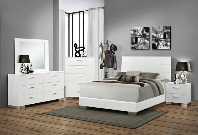 203501-Q 5 pc felicity contemporary style glossy white finish wood queen bedroom set with paneled headboard