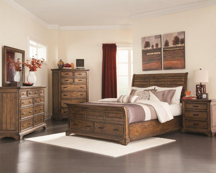 5 pc elk grove collection rustic vintage bourbon finish wood bedroom set with drawers underneath
