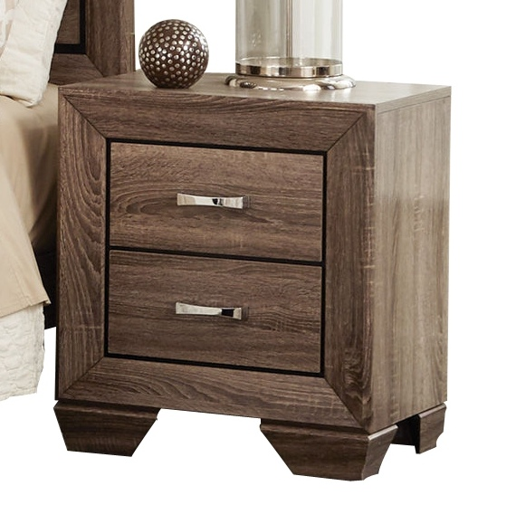 Kaufman collection washed taupe finish wood and natural oak wood grain nightstand