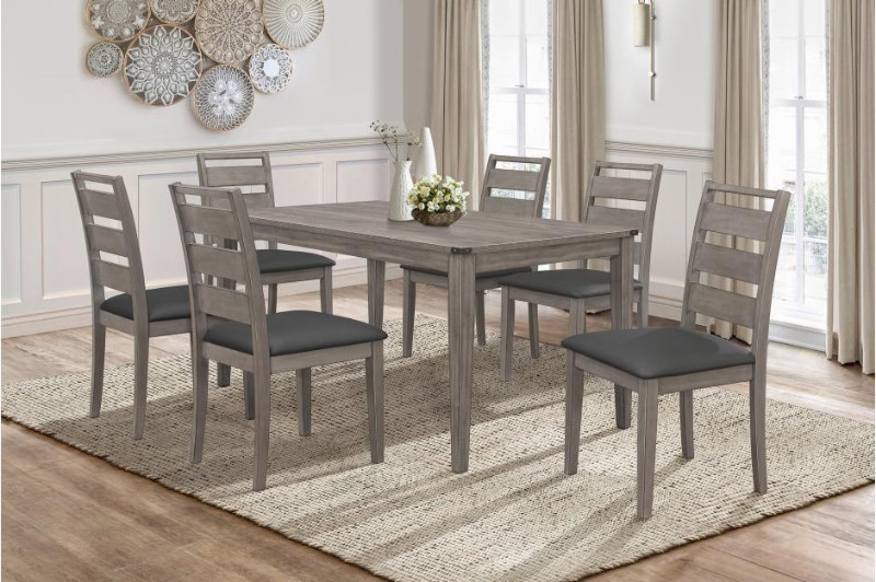 2042-7PC 7 pc Canora grey mel clary brownish gray finish wood dining table set