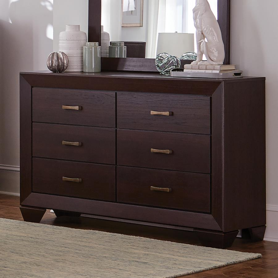 204393 Fenbrook dark cocoa finish wood dresser