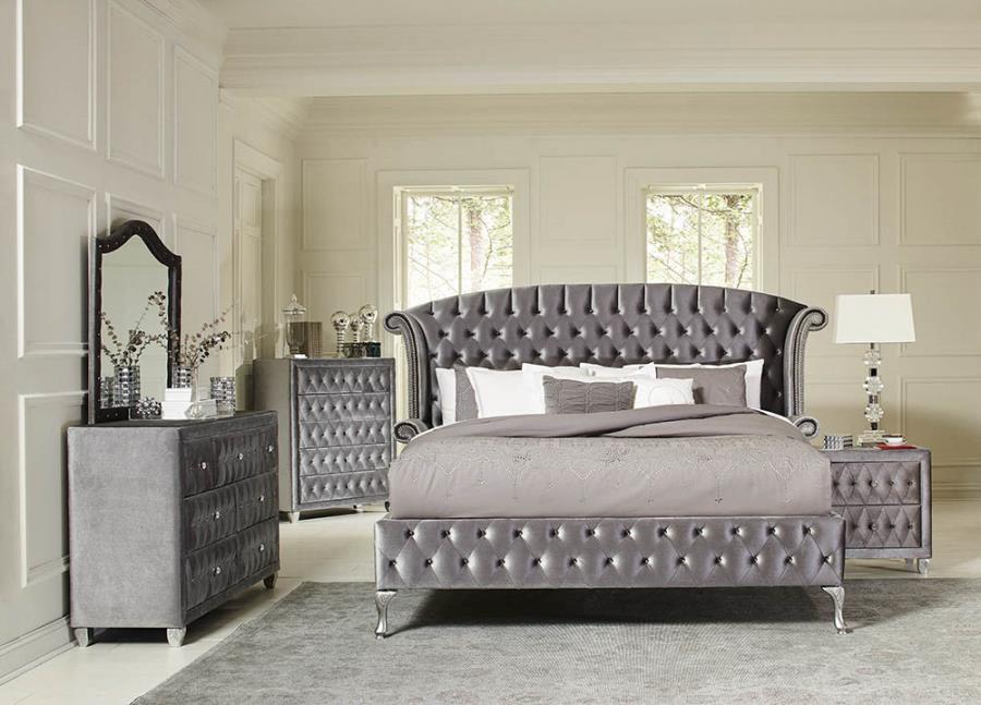 205101Q-5PC  5pc Rosdorf park lavallee deanna grey velvet headboard queen bed set