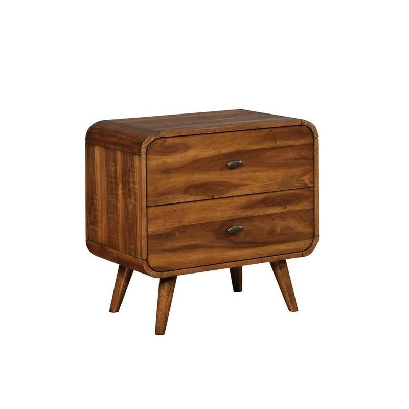 Robyn collection dark walnut finish wood mid century modern nightstand