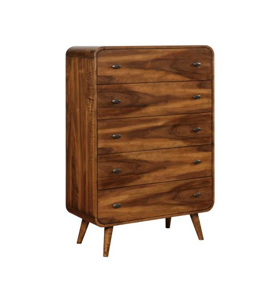 205135 Robyn dark walnut finish wood mid century modern chest