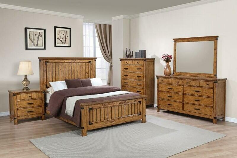 205261Q 5 pc Brendan II rustic honey finish wood rustic style queen bed set