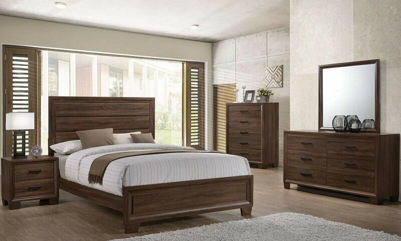 5 pc Branden collection medium warm brown finish wood queen bedroom set