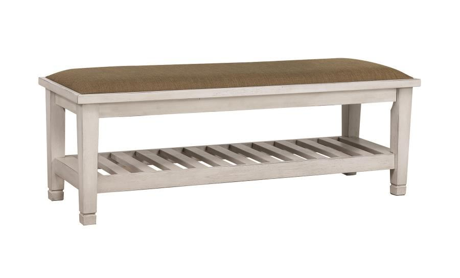 205337 Francis II antique white finish wood bedroom bench