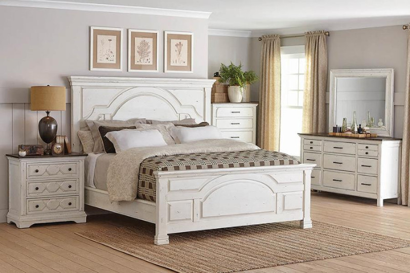 206461Q 5 pc Celeste vintage white finish wood country look queen bed set