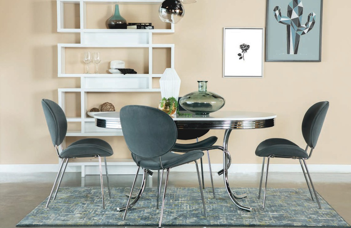 2065-106402 5 pc Orren ellis yother varick gallery amado oval shaped retro chrome finish dining table set with grey velvet chairs