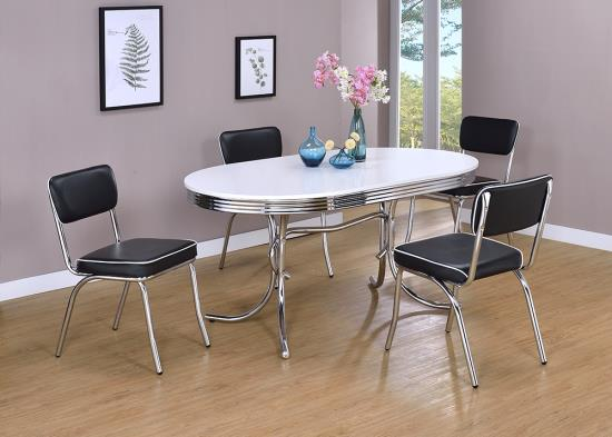 2065-2066 5 pc Orren ellis yother varick gallery amado oval shaped retro chrome finish dining table set with black cushioned seats
