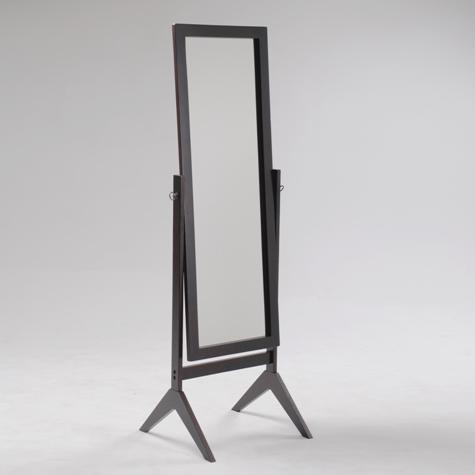 2066-ESP Espresso finish wood rectangular cheval floor free standing mirror