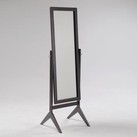 Espresso finish wood rectangular cheval floor free standing mirror