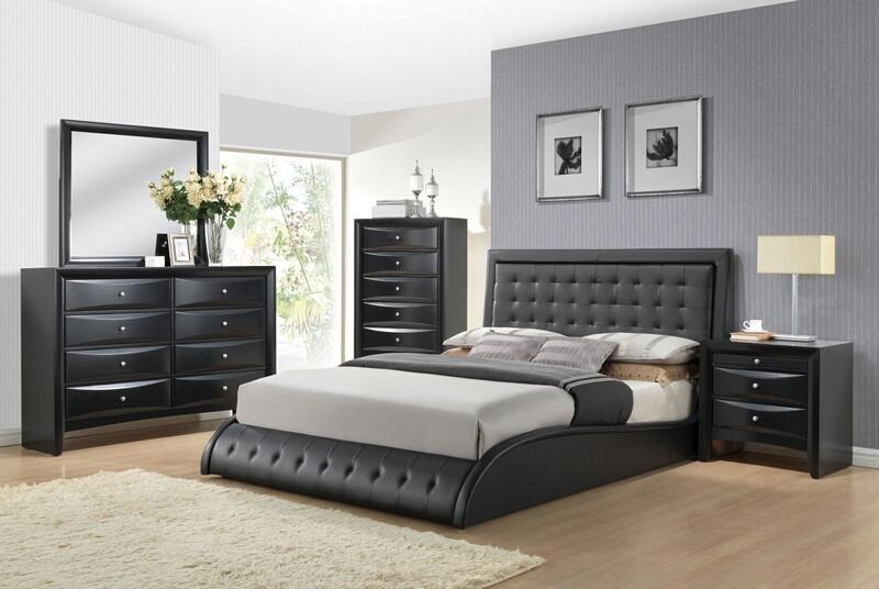 Acme 20660Q 5 pc tirrel black finish wood black faux leather padded bedroom set