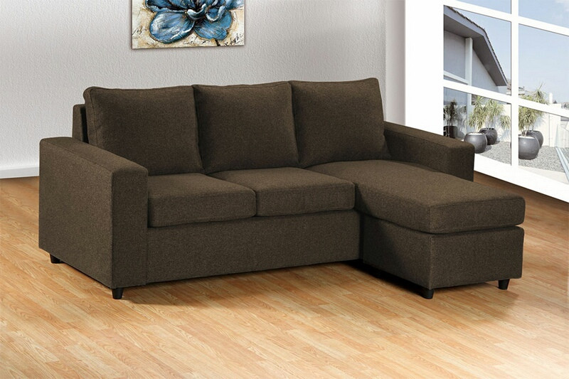Asia Direct 2068-BR 2 pc elaine brown linen like fabric sectional sofa set