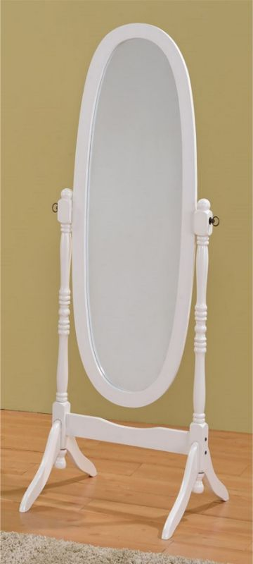 Crown Mark 2069 White finish wood free standing full length cheval floor mirror
