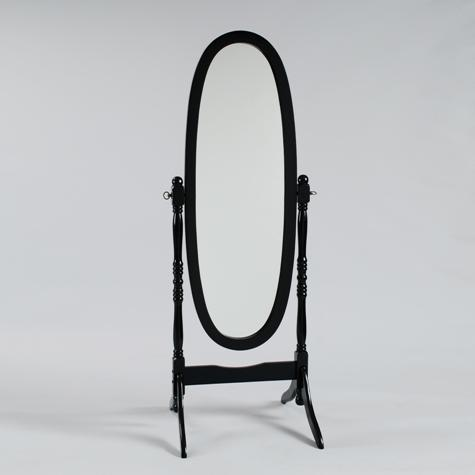 2070-BK Black finish wood free standing cheval floor mirror