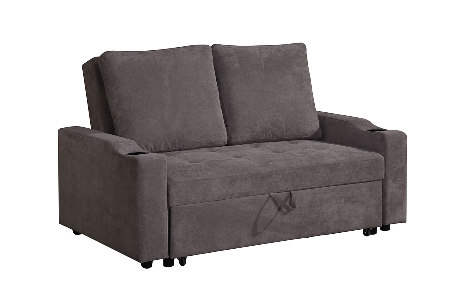 Asia Direct 2071 Daryl brown linen like fabric love seat set with pull out sleep area chaise
