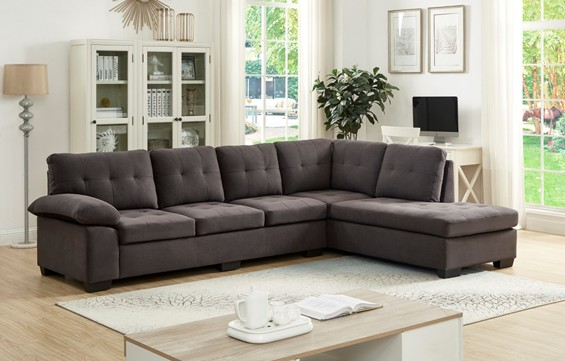 Asia Direct 2081 2 pc emily ii dark gray fabric sectional sofa set with tufted seat and backs
