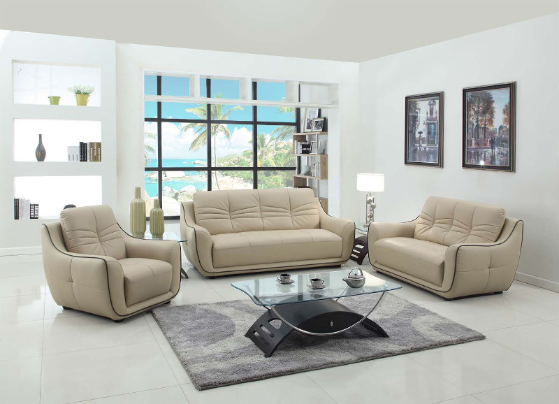 2088BEI-2PC 2 pc Orren ellis sampson modern style beige genuine leather sofa and love seat set