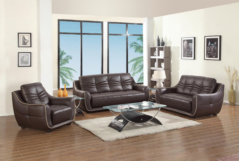 Global-United-2088BR-2PC 2 pc Tamara collection modern style brown genuine leather upholstered sofa and love seat set