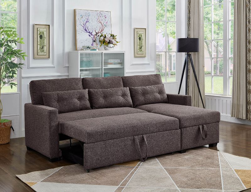 Asia Direct 2090 2 pc elaine brown linen like fabric sectional sofa set sleep area and storage chaise