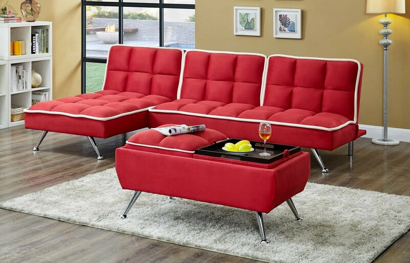 Asia Direct 2092RD-3PC 3 pc Set red easy rider fabric accented piping tufted adjustable futon sofa , chaise and ottoman